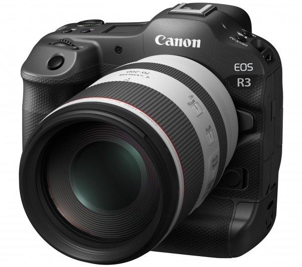 Canon EOS R3: Ohne Objektiv bringt das Profi-Gehäuse gut 400 g weniger als eine EOS-1D X Mark III auf die Waage [Bildmaterial: Canon Deutschland]
