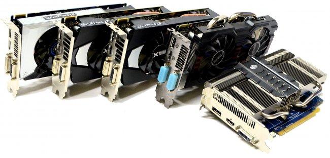 Die Testkandidaten: Sapphire R7 250X Vapor-X, R9 270 Dual-X, R7-265 Dual-X, Asus R7 260 DirectCU II OC und Sapphire R7 250 Ultimate