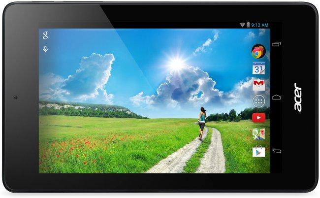 Auf der Vorderseite des günstigen Tablets befindet sich eine Kamera mit 0,3 Megapixeln über dem IPS-Display [Bildmaterial: Acer]
