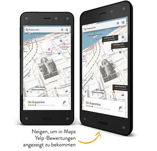 Die interessantesten Features am Fire Phone sind wohl Dynamic Perspective (hier dargestellt) und Firefly, die bisher kein anderes Gerät bietet [Bildmaterial: Amazon]