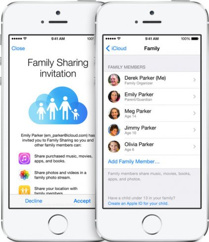 Über die neue Familienfreigabe lassen sich die eigenen Bibliotheken mit bis zu fünf anderen Nutzern teilen [Bildmaterial: Apple]