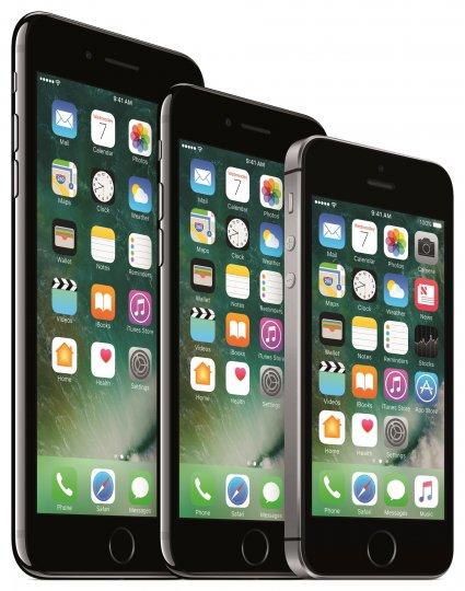 Drei Größen: Das iPhone 7 ist zwischen dem iPhone 7 Plus und iPhone SE platziert