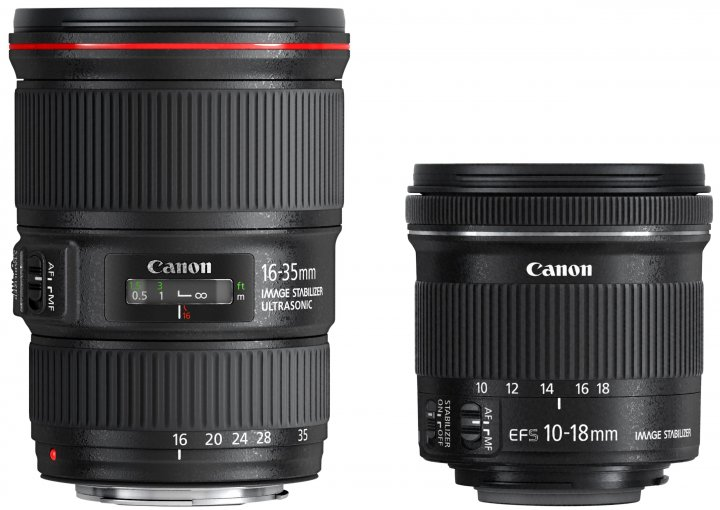 Canon EF 16-35 mm f/4L IS USM und EF-S 10-18 mm f/4-5.6 IS STM [Bildmaterial: Canon]