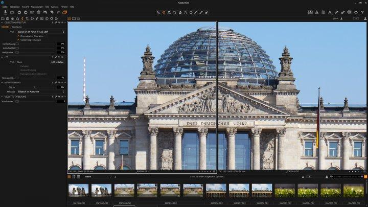 Testbild Canon EF 24-70 mm f/4L IS USM | Canon EOS 5Ds R | Vergleich der Bildschärfe im Zentrum bei 24 mm - f/4 vs f/5.6