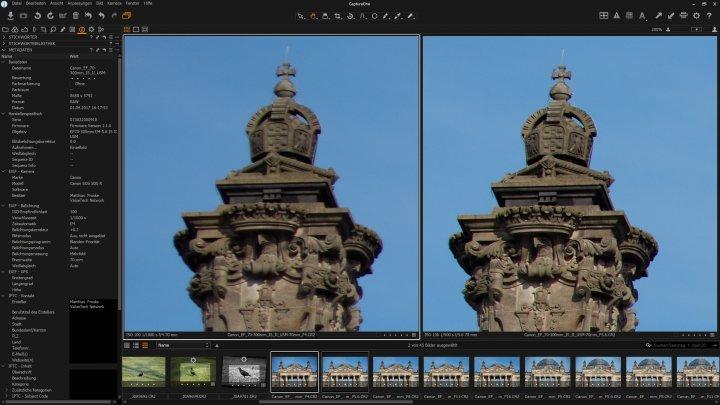 Canon EF 70-300 mm f/4-5.6 IS II USM: Bildschärfe bei 70 mm am Bildrand. links: f/4, rechts: f/5.6