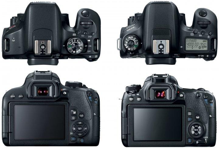 Die Gehäuse der Canon EOS 800D (li.) und 77D im Vergleich [Bildmaterial: Canon]