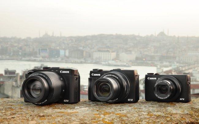 Canon PowerShot G3 X, G1 X Mark II und G7 X (v.l.n.r.)