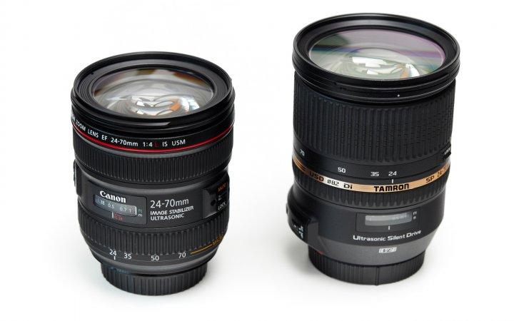 Canon vs. Tamron 24-70 mm: Gut zu sehen sind die deutlich kompakteren Abmaße vom Canon 24-70 mm f/4L IS USM (links) im Vergleich zur lichtstärkeren Version von Tamron
