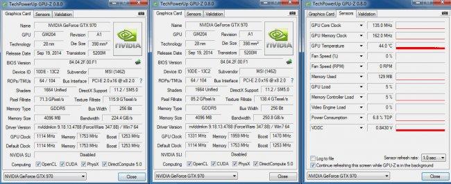 MSI GTX 970 Gaming 4G - Werkszustand, übertaktet, Taktraten im Idle-Modus (v.l.n.r.)