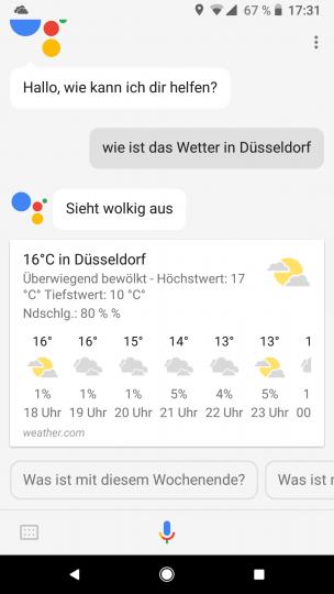 Die Wetterauskunft ist für Google Assistant eine leichte Aufgabe