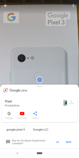 Der AR-Service Google Lens funktioniert unter Android 9 auch beim Erfassen des Objekts mit der Kamera
