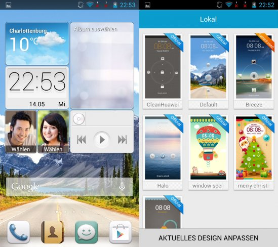 Links: Der Homescreen bietet zahlreiche Widgets wie Wetter, Kontakte und Fotoalben; Rechts: Huawei liefert zahlreiche offizielle Designs, die etwas Abwechslung liefern