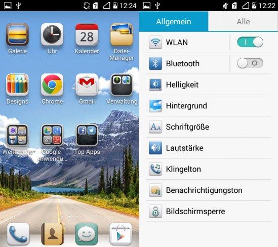 Da die Emotion UI über keinen separaten App-Launcher verfügt werden alle Apps auf dem Homescreen gelagert. Rechts ist das vereinfachte Einstellungsmenü mit den wichtigsten Punkten zu sehen