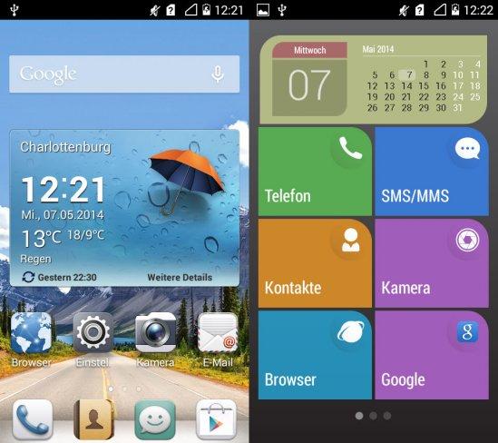 Links im Bild ist der normale Homescreen, rechts dagegen die vereinfachte Simple UI, die sich auf wesentliche Funktionen beschränkt