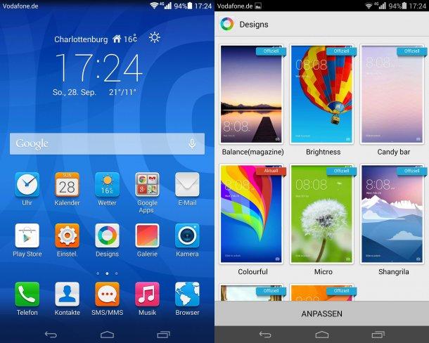 Das MediaPad X1 7.0 besitzt mit Android 4.4 und Emotion UI 2.3 die gleiche Software wie das Ascend P7, ebenso stehen wieder viele Designs zur Auswahl
