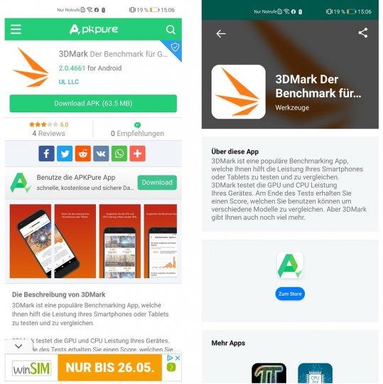 Hat man eine Anwendung wie z.B. 3DMark in der App-Suche gefunden, leitet einen das Huawei P40 zum APK Store weiter, um sich dort die Installationsdatei herunterzuladen