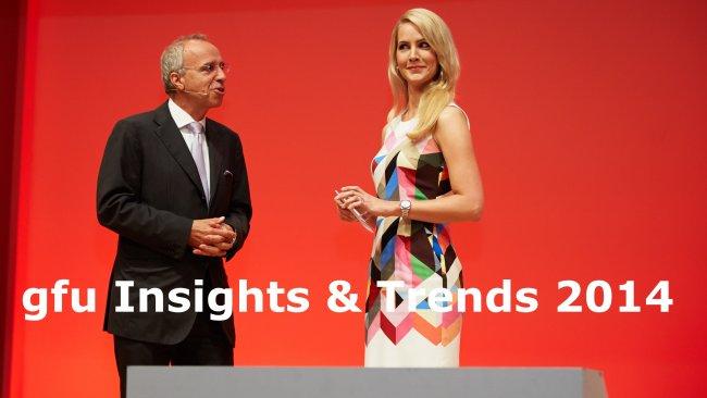 IFA IMB 2014: Die Moderatorin Judith Rakers und Hans-Joachim Kamp, Vorsitzender des Aufsichtsrats der gfu, im Gespräch