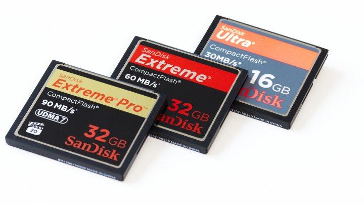 SanDisk Extreme Pro (32 GByte), Extreme (32 GByte) und Ultra (16 GByte) CompactFlash-Speicherkarte