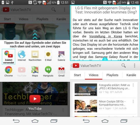 Per Dual Window kann man mit zwei Apps gleichzeitig arbeiten, was durch den großen Bildschirm auch stellenweise Sinn macht
