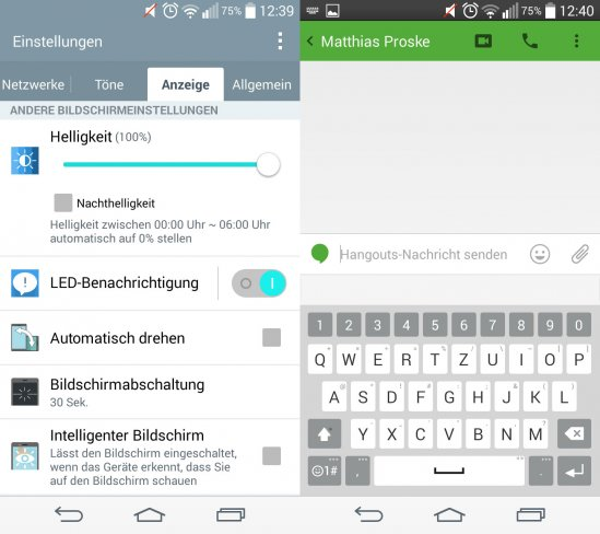 Links: Kategorie merkwürdig - ein Menü für die nicht vorhandene Status-LED; Rechts: Die Tastatur ist gut aufgebaut, aber langsam bei der Wortvorhersage