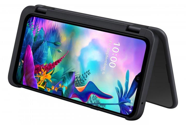 Bei Bedarf kann der Dual-Screen als Halter für das LG G8X ThinQ dienen, wenn man sich z.B. einen Film angucken möchte