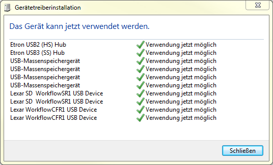 Lexar Professional Workflow Reader Solution unter Windows