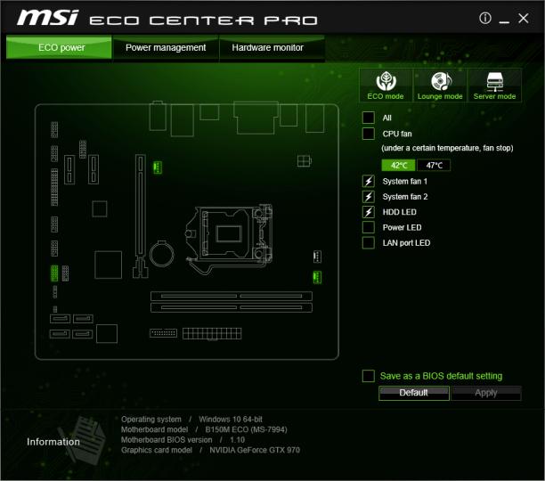 MSIs Eco Center Pro erlaubt auch unter Windows die Optimierung von potentiellen Stromschluckern.
