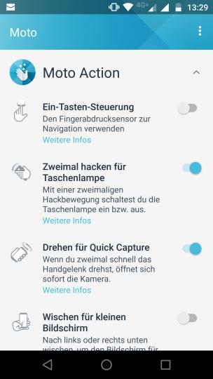 Über die Moto-App des Motorola Moto Z2 Force Edition können sogenannte Moto Actions, also Gestensteuerungen, eingestellt werden