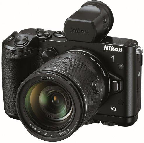 Nikon 1 V3 mit 1 Nikkor 10-100 mm f/4-5.6 VR Objektiv und elektronischem Aufstecksucher (EVF) DF-N1000 [Bildmaterial: Nikon]