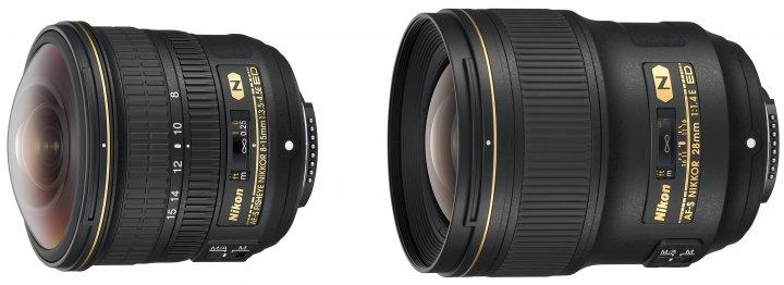 Nikon AF-S Fisheye 8-15 mm f/3.5-4.5E ED und AF-S 28 mm f/1.4E ED [Bildmaterial: Nikon]