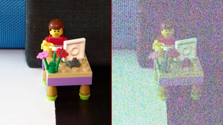 Testbild Nikon D500: ISO-Test | Bei ISO-1.638.400 (rechts) lässt sich das Motiv kaum noch erkennen