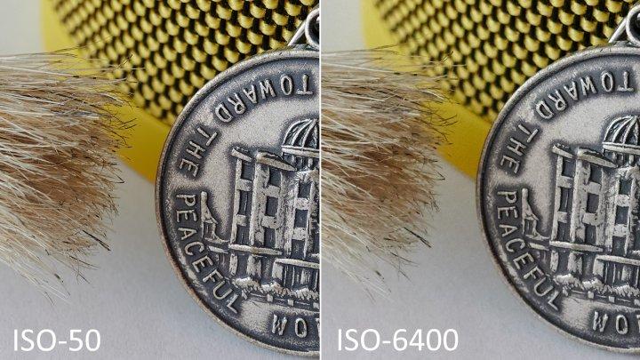Testbild Nikon Z6: Bildrauschen bei ISO-50 und ISO-6400 im Vergleich