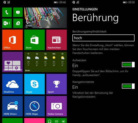 Nokia Lumia 830: Durch den empfindlichen Touchscreen lässt sich das Smartphone auch mit Handschuhen bedienen