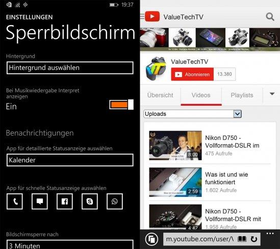 Nokia Lumia 930: Google Apps fehlen zwar, lassen sich aber über die mobilen Websites nutzen