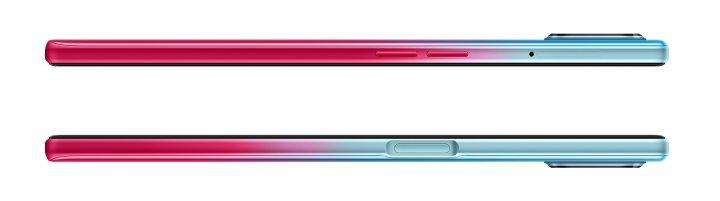 Auch an den Gehäuseseiten des Oppo A73 5G ist der Übergang von Hellblau zu Pink sehr schön zu sehen