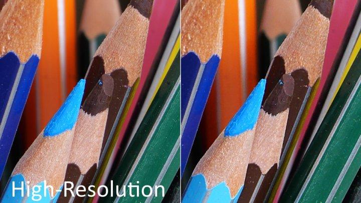 Panasonic Lumix G9: High-Resolution-Modus (li.) und Standard-Modus im Vergleich