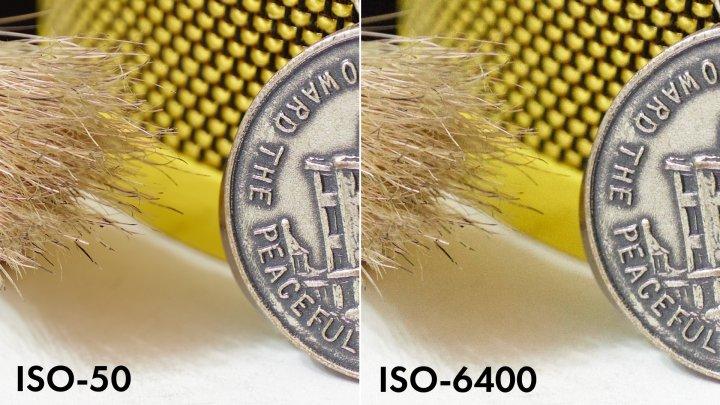 Panasonic Lumix S1: Bildrauschen bei ISO-50 (li.) und ISO-6400 im Vergleich