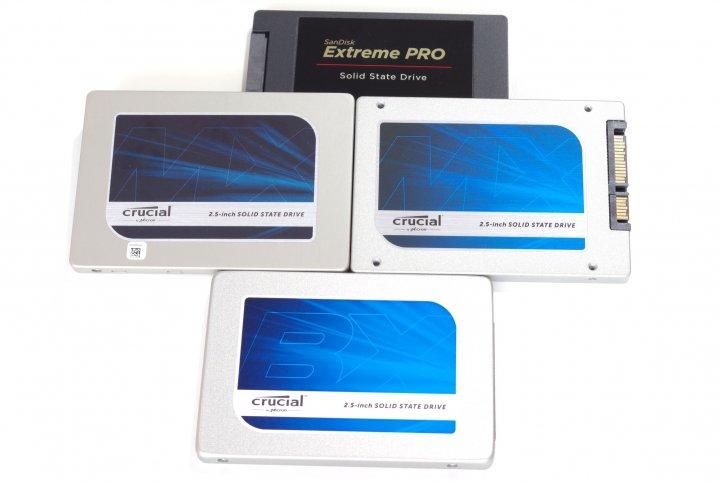 Neuankömmlinge in der SSD-Bestenliste 2015: Crucial MX200, BX100 und die Plextor M6 Pro (nicht im Bild) haben sich eingereiht