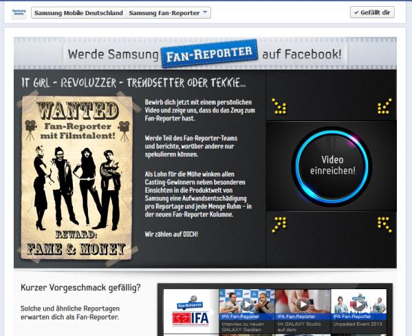 Samsung Fan-Reporter Bewerbung auf Facebook