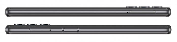 Auf der linken Seite des Samsung Galaxy A32 5G liegt der Karten-Slot, während rechts Tasten und Fingerabdruck-Scanner zu finden sind