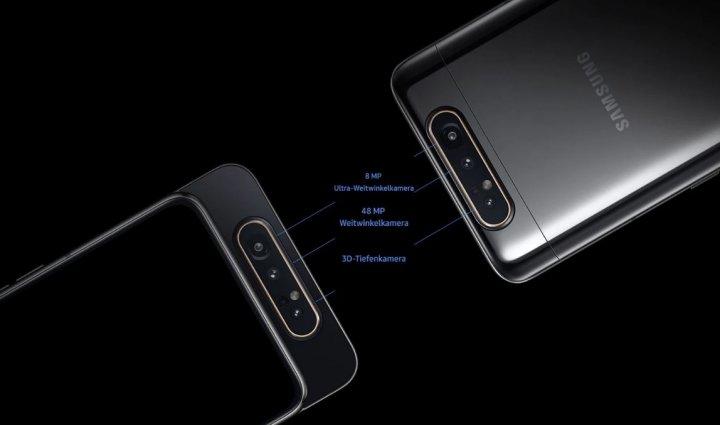 Die Triple-Kamera des Samsung Galaxy A80 besteht aus einem 48-MP-Hauptobjektiv, einer Acht-MP-Weitwinkel-Linse und einer HQVGA-Kamera für Tiefeninformationen