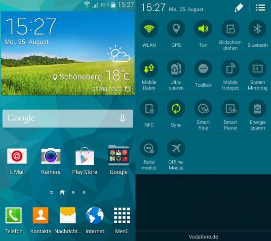 Die Oberfläche entspricht bis auf einzelne fehlende Features weitestgehend der vom Galaxy S5 bekannten TouchWiz-Version