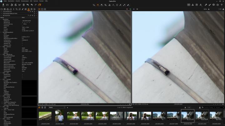 Testbild Samyang AF 50 mm f/1.4 FE | Sony Alpha 7R II: Chromatische Aberration tritt nur bei maximal geöffneter Blende auf