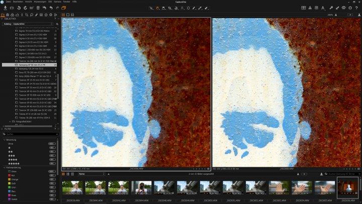 Testbild Samyang AF 50 mm f/1.4 FE | Sony Alpha 7R II: Die Bildschärfe zwischen Offenblende (f/1.4) und f/2.8 im Vergleich