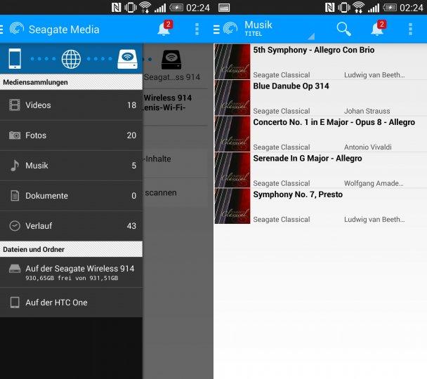 Über die Seagate Media App lassen sich allerhand Inhalte von der Wireless Plus und vom Smartphone abspielen