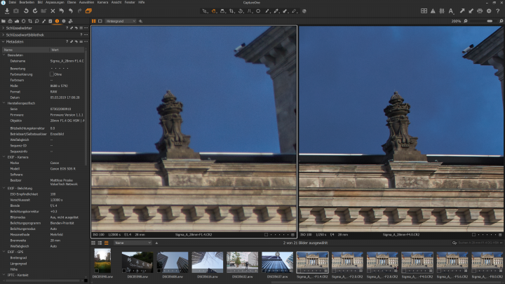 Bildqualität Sigma 28 mm f/1.4 DG HSM ART am Bildrand bei f/1.4 (li.) und f/4 im Vergleich