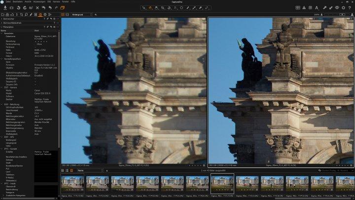 Bildschärfe am Bildrand bei f/1.4 im Vergleich: Sigma 35mm F1.4 DG HSM ART (li.) und Sigma 40mm F1.4 DG HSM ART