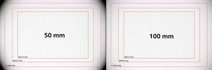 Sigma [A] 50-100 mm F1.8 DC HSM: Vignettierung am Vollformat bei 50 mm (li.) und 100 mm
