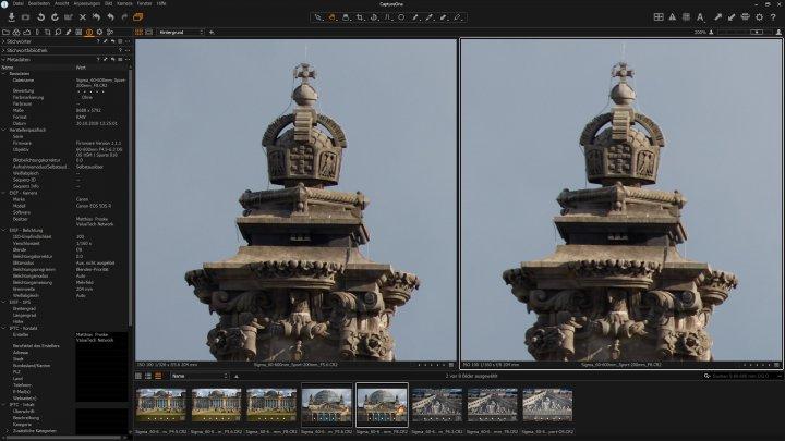 Testbild Sigma 60-600 mm f/4.5-6.3 DG OS HSM Sport | Bildqualität bei 200 mm am Bildrand bei f/5.6 (li.) und f/8 im Vergleich