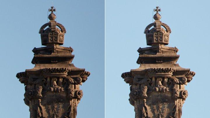 Sigma 70-200 mm f/2.8 DG OS HSM Sports - Bildqualität bei 200 mm am Bildrand bei Blende f/2.8 (li.) und f/5.6 im Vergleich